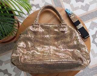 New with strap, KOREAN gold snake skin bag