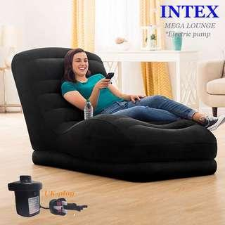 INTEX MEGA LOUNGE CHAIR*New Style-Flocked top*AIR SOFA*INFLATABLE SINGLE SOFA