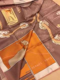 Hermes 全新真品藕粉色絲巾