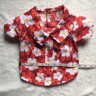 Puppy Floral Polo (Red)