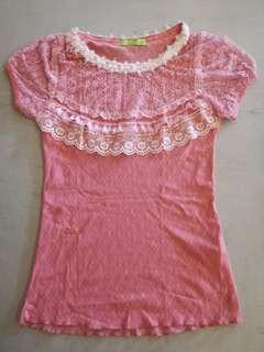 Pink laced Top