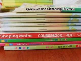Free to quote all p4 textbooks. Shaping maths 4A, social studies, character and Citizenship. Free music.  Free chinese