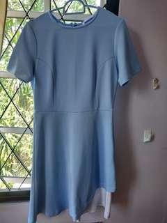 Sky Blue A-Line Asymmetrical Dress