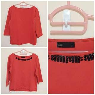 Wore 1x Only - Seed orange blouse with beading size L