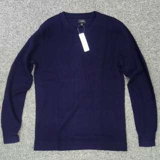 低過半價入手!J.Crew軍事味海軍藍色cotton thermalm可機洗線織sweater
