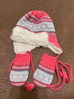 🚚 嬰兒保暖遮耳帽+手套