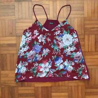 Red Floral Cami Top