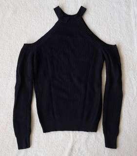 Knit cold shoulder top