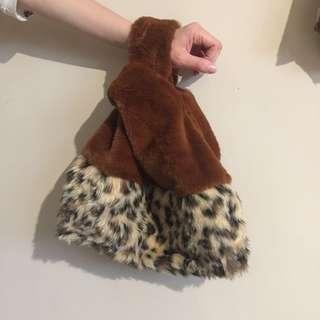 🚚 日本帶回 豹紋 手拿包 毛毛 拼接 拼布 手提包 托特包 咖啡色 tote