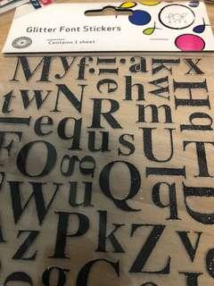 Glitter font stickers