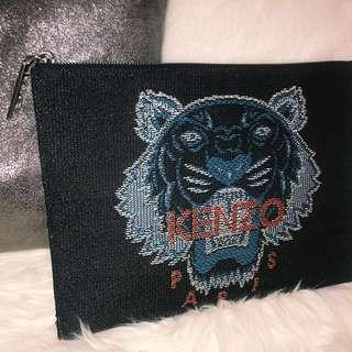 🐯Kenzo tiger clutch bag black leather