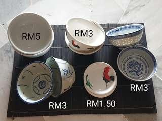 Porcelain Bowls and Saucers