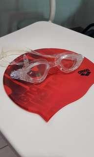 Cressi goggles & swim cap