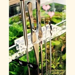 ( bundle deal ) aquarium tool stainless steel bundle set ( 25 CM Curved Scissor, 27 CM tweezers, 38 CM bend tweezers and acrylic mounting bracket ) for fish tank Tidy maintenance