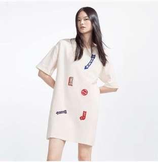 Slightly off White Zara sweatshirt patch dress