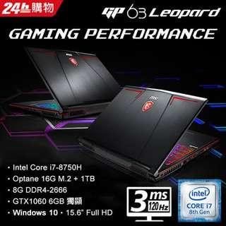 laptop gaming msi Gp63 8re i7-8750H+8gb+1Tb+256ssd+gtx 1060 6gb kredit