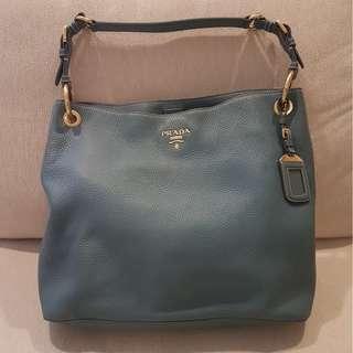 Authentic Prada Vitello Daino BR4892 Sacca Bag (Marine)