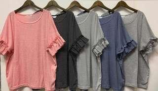 🚚 新品上市韓國細條袖剪接荷葉短袖T