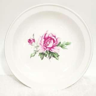 1960s Floral Porcelain big Silver rim Plate 60年代银边花卉大盘