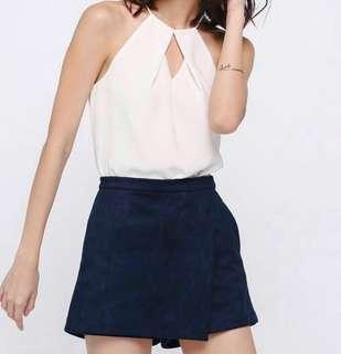 Love, Bonito Orneanne Faux Suede Skorts in Navy #CNY888