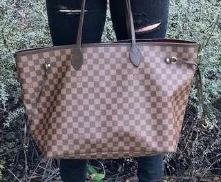 Preowned Authentic LV Louis Vuitton Neverfull Damier MM