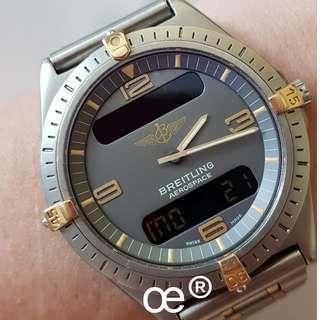 #CNY888 PROMO Breitling Aerospace SuperQuartz Multi-Funtion Digital TITANIUM with 18K YELLOW GOLD 40mm