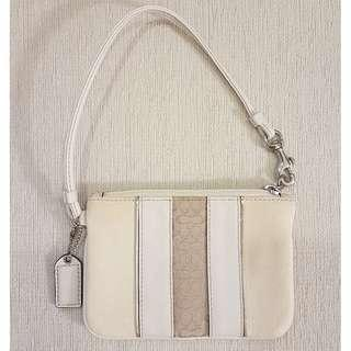 Authentic Coach Small Wristlet (Cream Leather and Canvas)
