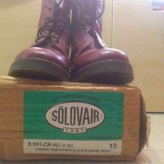 Original Solovair Yellow Stitch 8 Eye Haircell Cherry Red Boot