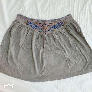 Embroidery Grey Skirt