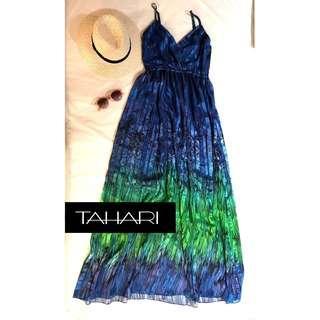 美國高級時尚品牌TAHARI細肩帶長裙洋裝