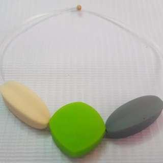 Sensory oral motor chewy bracelet cream,gray and green