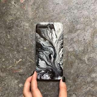🚚 Black Grey White Swirly Marble Design TPU iPhone 7/8