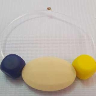 Sensory oral motor chewy bracelet Navy blue,cream and yellow