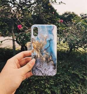 🚚 Blue & Gold Oceanic Marble Design TPU iPhone X