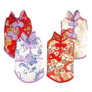 Instock Pet Cheongsam Peony Pattern Cat Dog Kitten Puppy Dress Chinese New Year Qi Pao CNY