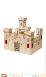 Melissa & Doug Deluxe Folding Medieval Wooden Castle Hinged for Compact Storage