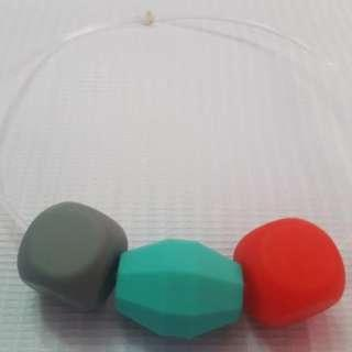 Sensory oral motor chewy bracelet Gray,turquoise and red