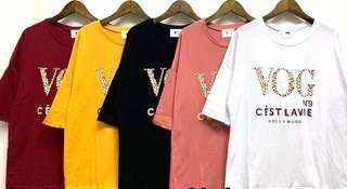 🚚 新品上市韓國棉麻豹紋字VOG短袖T