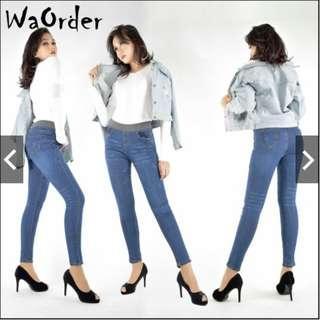 #CNY888 Waorder Dark Blue Korean Style Women's Elastic Stretch Highwaist Jeans Long 264