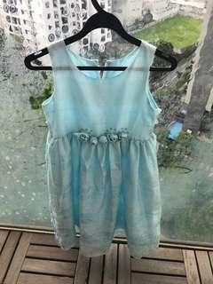 Blue Party Long Dress Flower girl w Rosettes Age 8