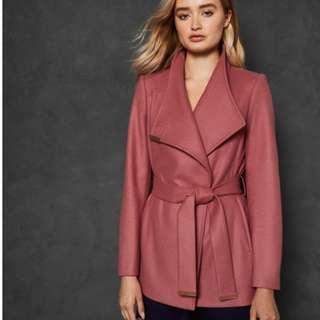 BNWT Ted Baker RYTAA Short Wool Wrap Coat in Pink Coral, Size 1