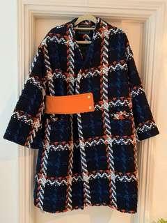 格仔中長度闊身外套Checkers wide-cut mid length coat