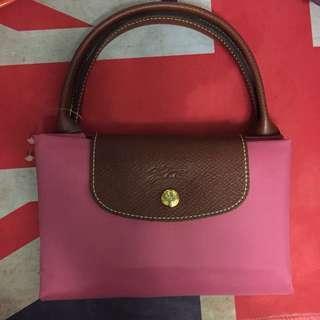 Longchamp Bag粉紅色短帶中size