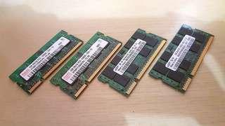 6GB RAM For Laptop/Notebook (2GB x 2 and 1GB x 2) DDR2 - GOOD CONDITION !! $200 Takes All !!
