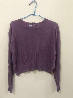 紫色短版針織
