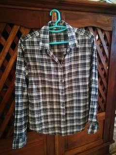 Uniqlo grey checked cotton long sleeve shirt #CNY888