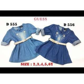 Kids Girl Denim Dress Guess Blouse (Navy Blue)