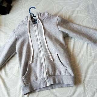 grey hooded jacket hoodie