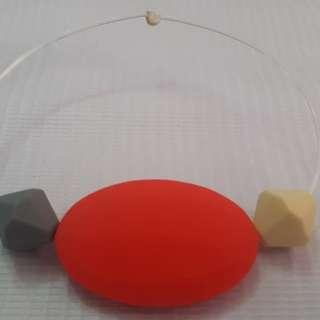 Sensory oral motor chewy bracelet Red,gray and cream