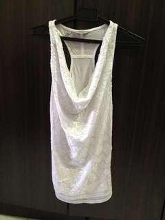 Guess sequin white top